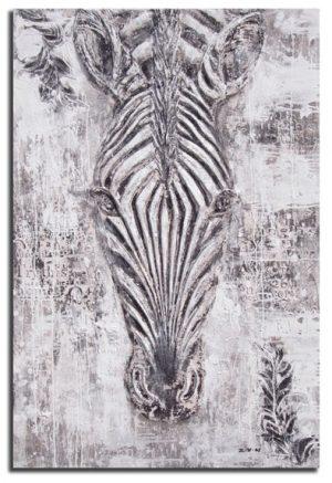 Handgeschilderde Olieverf schilderij Zebra 120x180cm