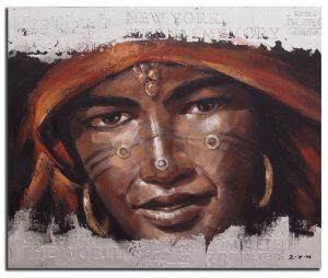 Handgeschilderde Olieverf schilderij Man 120x100cm
