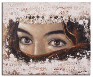 Handgeschilderde Olieverf schilderij Vrouw 120x100cm