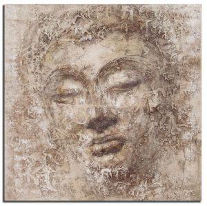 Handgeschilderde Olieverf schilderij Boeddha 100x100cm