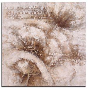 Handgeschilderde Olieverf schilderij Bloemen 100x100cm